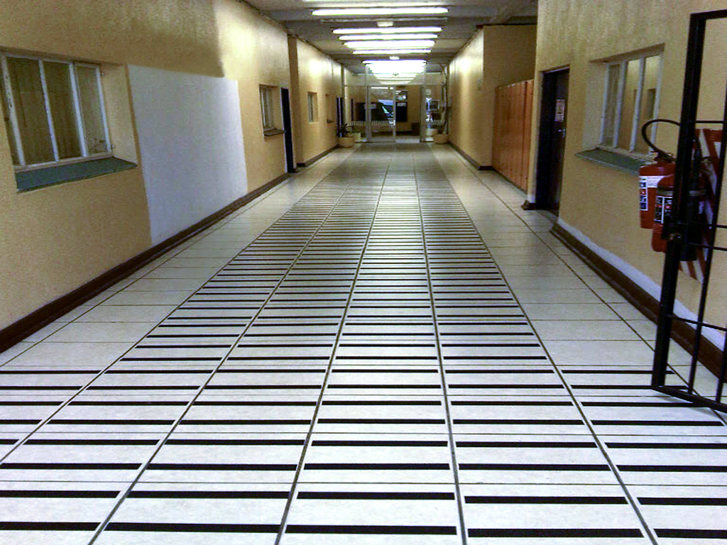 FibreGrip non-slip safety traction tape on tiled floor at JHB City Power