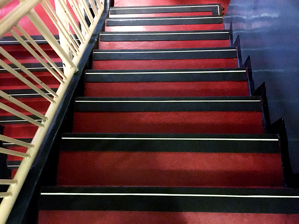 FibreGrip non-slip stair nosing with LumiGlo on staircase at Monte Casino