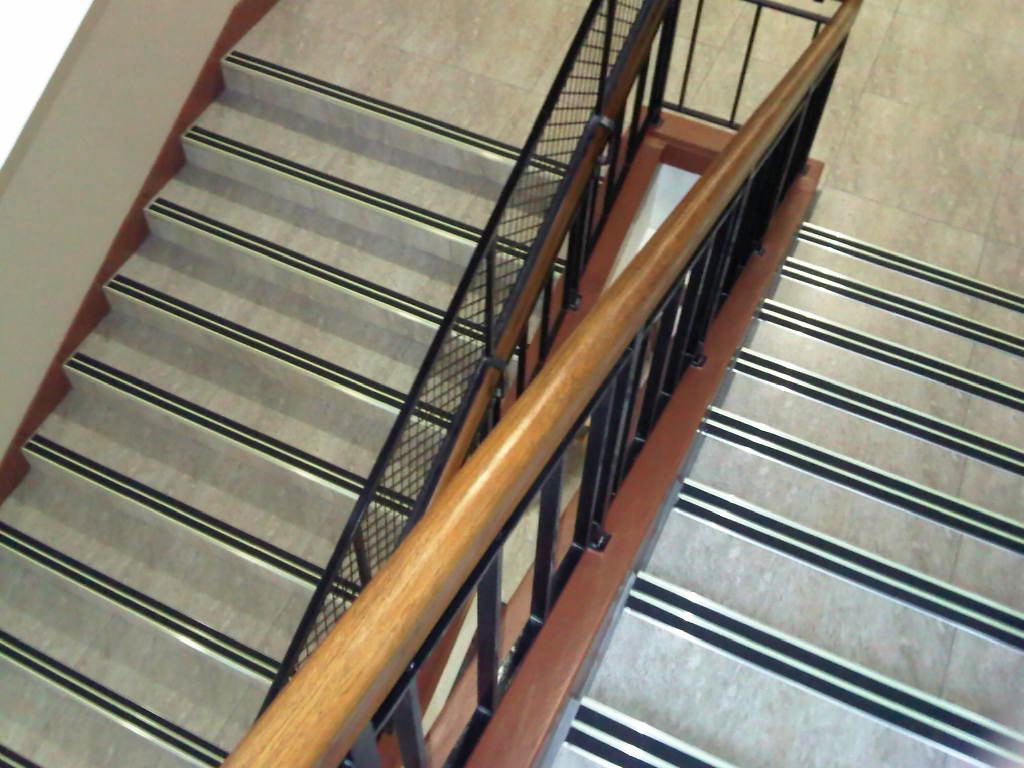 Double Aluminium stair nosing with LumiGlo