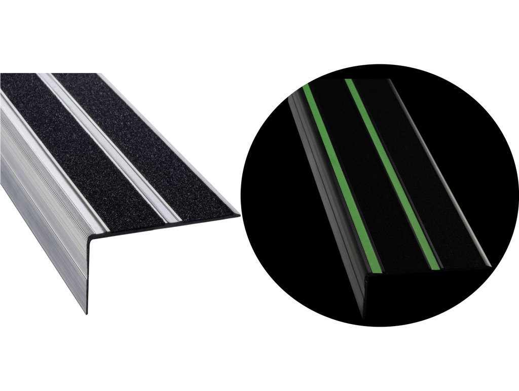 FibreGrip anti-slip double aluminium stair edge with LumiGlo