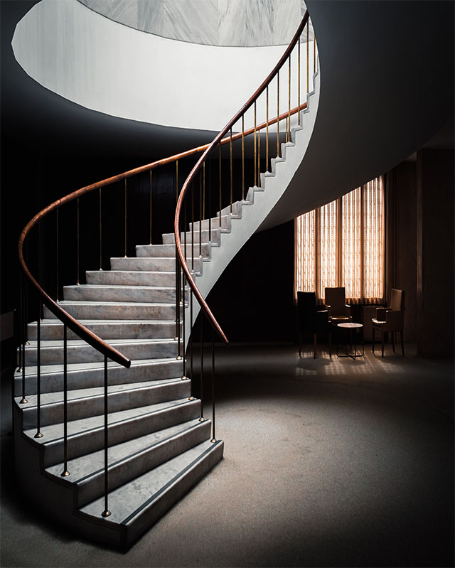 spiral staircase with railing